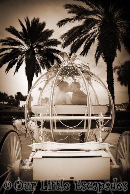 disney wedding cinderellas carriage kissing couple