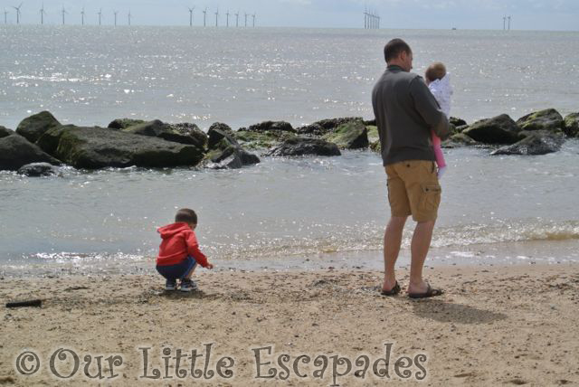 Photos showing our children watching the sea at Clacton on Sea