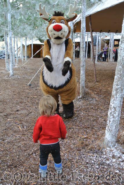 little e meeting reindeer character