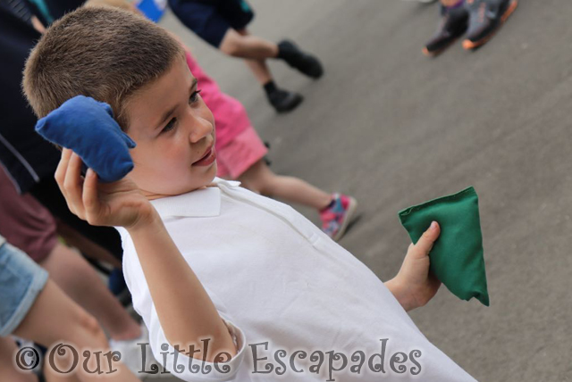 Ethan at sports day bean bag activity