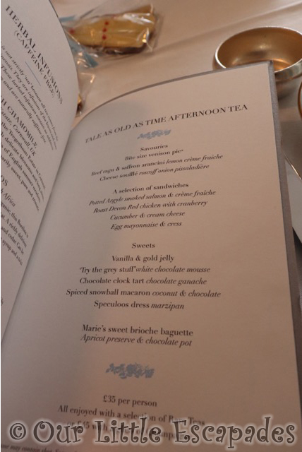the kensington hotel tale as old as time beauty and the beast afternoon tea menu