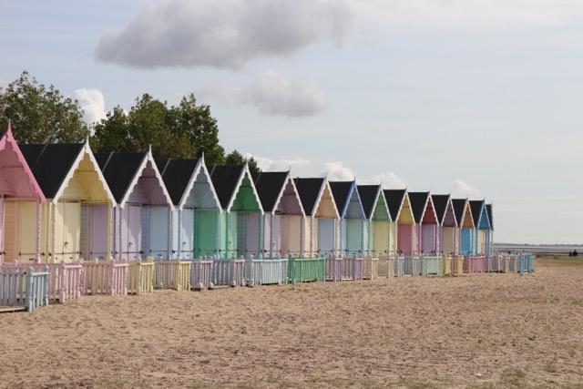 mersea island pastel beach huts