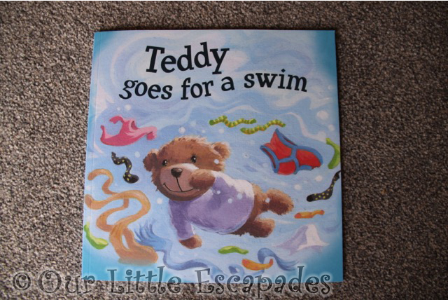 teddy goes for a swim