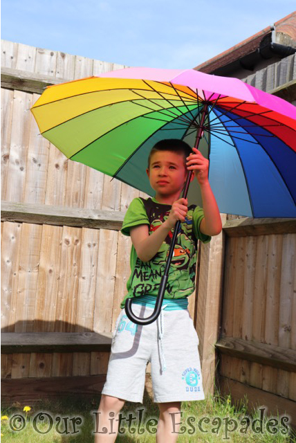 susino rainbow coloured walking umbrella