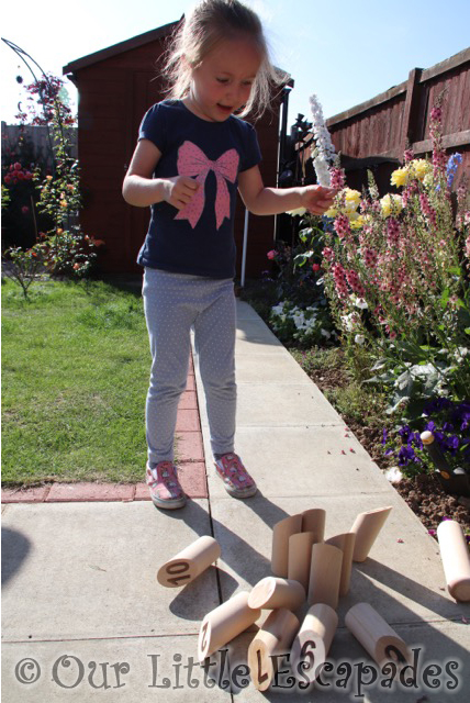 molkky playing garden game