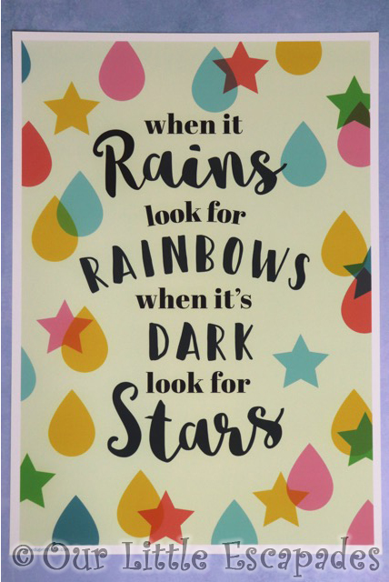 childrens art prints when it rains look for rainbows when its dark look for stars