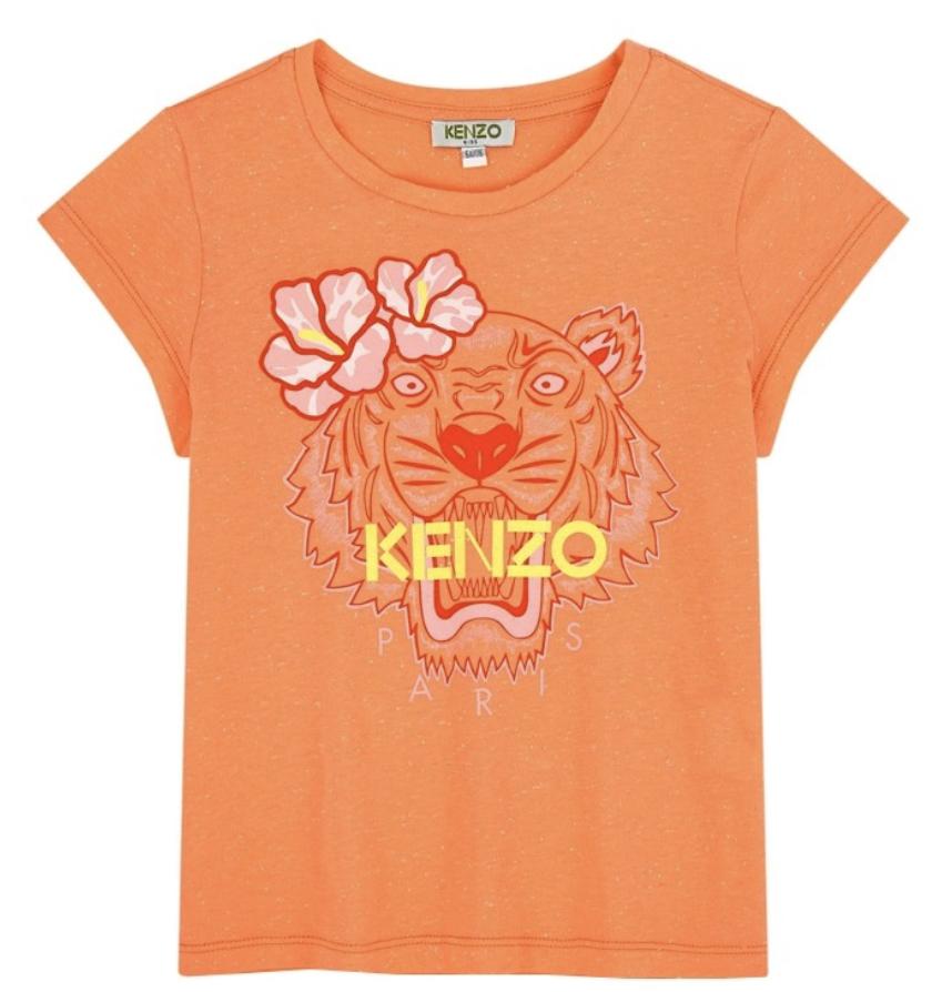 kenzo girls hawai apricot tiger t-shirt