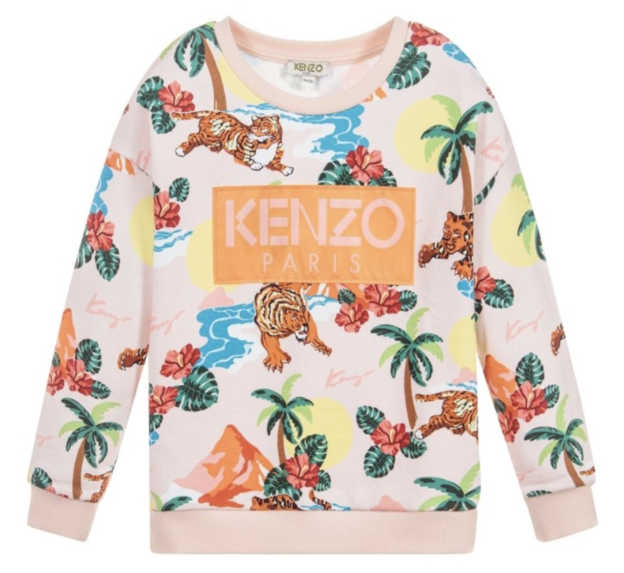 kenzo girls hawai pink printed sweater