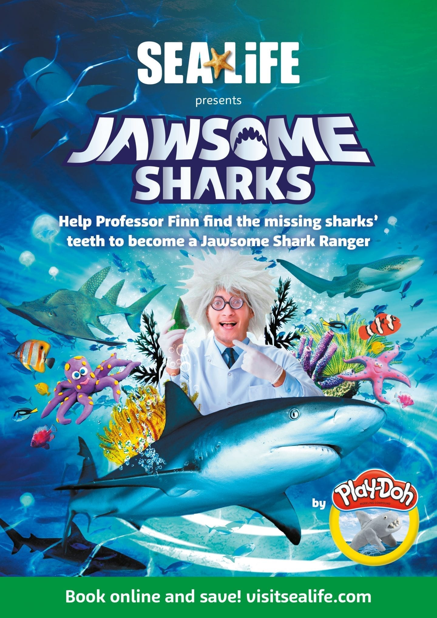 sea life jawsome sharks play-doh event poster