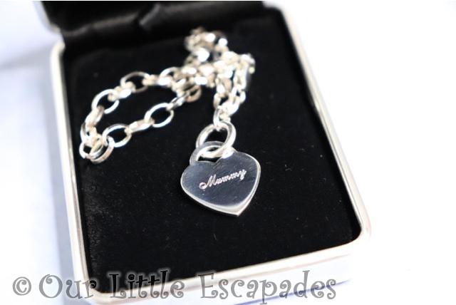 sterling silver link bracelet heart mummy