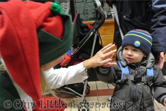 ethan elf high five breakfast with santa colchester zoo