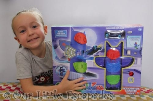 little e pj masks headquarters launcher track set boxed