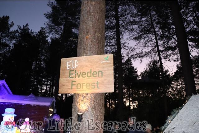 elfeden forest sign center parcs visiting santas woodland workshop