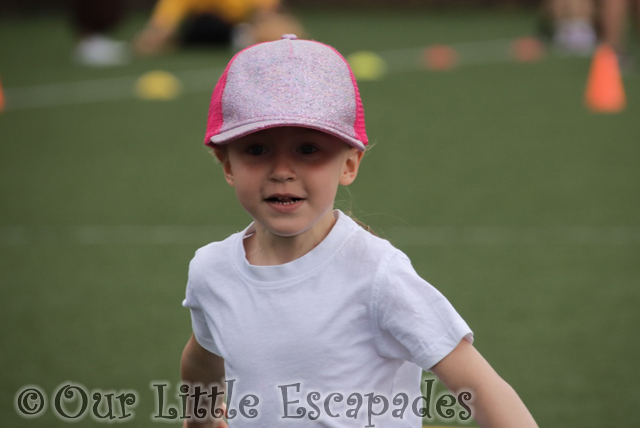 little e running sporty morning
