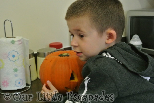 ethan watching pumpkin carving halloween 2014