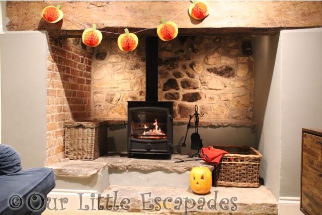 jack o lantern orchard cottage fireplace