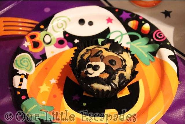 little e decorated halloween cupcake